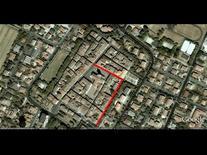 Edificio d'angolo nell'isolato alle spalle del Duomo (da Google Earth, 511 m. di altezza).