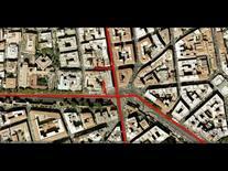 L'edificio è testata della via Salaria su piazza Fiume (da Google Earth, 542 m. di altezza).