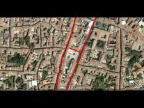 L'edificio tra l'asse storico e la Riviera interrata (da Google Earth, 544 m. di altezza).