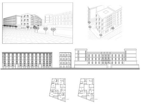 Ricerca di consonanze tra i partiti architettonici del nuovo e quelli della cortina.