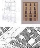 L'edificio preesistente: ipotesi di impianto, fronte (da Cocchia), stralcio dalla pianta Schiavoni (1879).