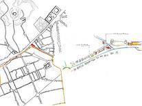 L'area di progetto nel contesto urbano (rielaborazione e schizzo di A. Mollo).