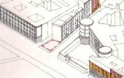 L'area all'incrocio delle due strade (disegno di A. Mollo).