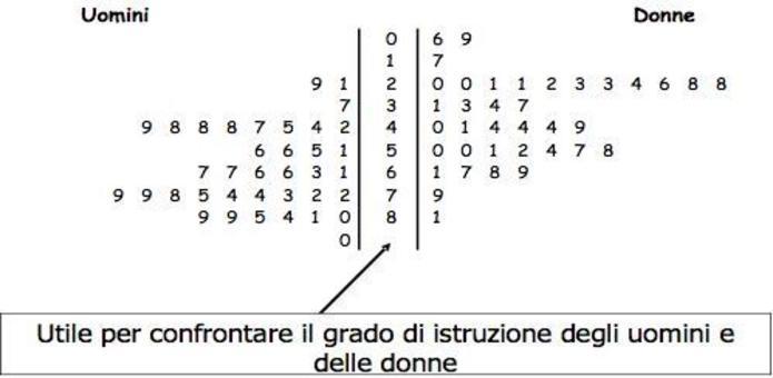 Diagramma ramo foglia fianco a fianco