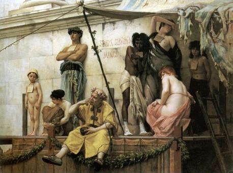 G.C.R. Boulanger, Le marché aux esclaves (Il mercato di schiavi). Da notare la tavoletta attaccata al collo degli schiavi in vendita. Data: prima del 1882. Fonte: Wikipedia.