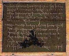 """Riproduzione della """"Tavoletta di Fortunata"""" effettuata  in  occasione del ritrovamento e dell'esposizione al Museum of London (dove è conservata attualmente)."""