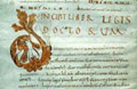 Manoscritto del X secolo del Breviarium Alaricianum (o Lex Romana Visigothorum). Fonte: Wikimedia Commons.