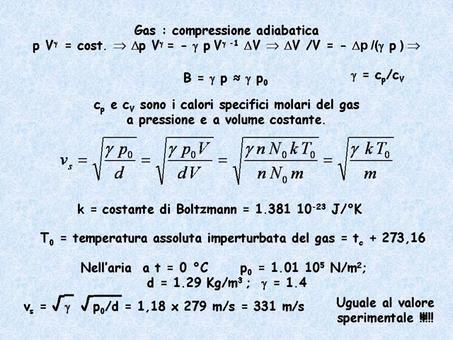 Calcolo della velocità di propagazione delle onde acustiche nell'ipotesi che le compressioni e rarefazioni dell'aria che si accompagnano ad esse avvengano  in maniera adiabatica.