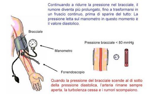 Misura della pressione aortica: apertura completa dell'arteria brachiale e misura della pressione massima (da UniPg )