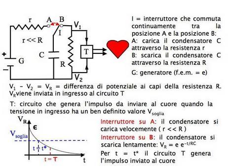 Lo stimolatore cardiaco utlizza un circuito RC per fornire uno stimolo elettrico al cuore ad intervalli di tempo ben precisi