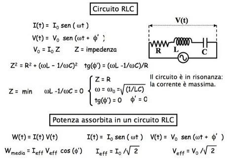 Circuito RLC in ca: impedenza, potenza media dissipata