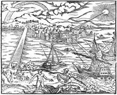 Specchio ustorio usato nell'assedio di Siracusa, Frontespizio del Theraurus opticus di Alhazen, 1572 (Bayerische Staatsbibliothek München). Fonte: Wikipedia