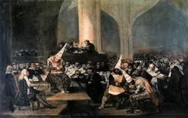 F. Goya, Auto de fe de la Inquisición (1912-1819), Real Academia de las Bellas Artes de San Ferdinando de Madrid. Fonte: Wikipedia