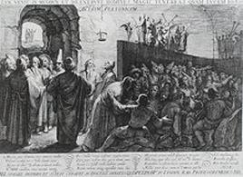 Il mito della caverna in un'incisione di Jan Saenradam (1604). Fonte: Wikipedia