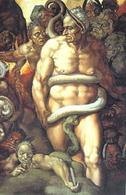 Michelangelo Buonarroti, Il Giudizio universale (particolare, Minosse). Fonte: Wikipedia