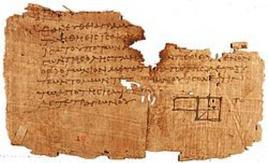 Frammento di Papiro contenente alcuni Elementi euclidei. Fonte: Wikipedia