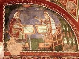 Dipinto murale del XII secolo, Galeno ed Ippocrate. Anagni, Italia. Fonte: Wikipedia.