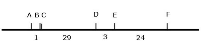 Mappa genetica di 6 geni di Drosophila associati al cromosoma X.