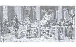 In tribunale (illustrazione di L. Pogliaghi, in F. Bertolini, Storia di Roma, Milano Fratelli Treves editori 1886).
