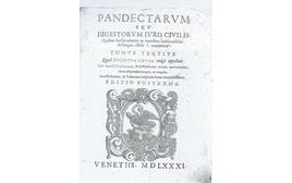 Frontespizio di un'edizione cinquecentina del cd. Digestum novum (i libri dei Digesta Iustiniani da XXXIX a L, secondo suddivisione dell'opera giustinianea  effettuata nella Scuola di Bologna).