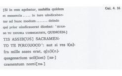 Frammenti gaiani, particolare (Arangio-Ruiz, Studi epigrafici e papirologici, cur. L. Bove, Napoli Giannini 1974).