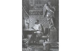 Marco Aurelio scrive i ricordi ((illustrazione di L. Pogliaghi, in F. Bertolini, Storia di Roma, Milano Fratelli Treves editori 1886).