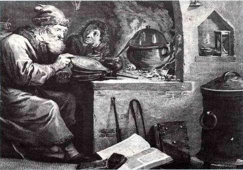 Alchimista al lavoro (incisione del XVII secolo)