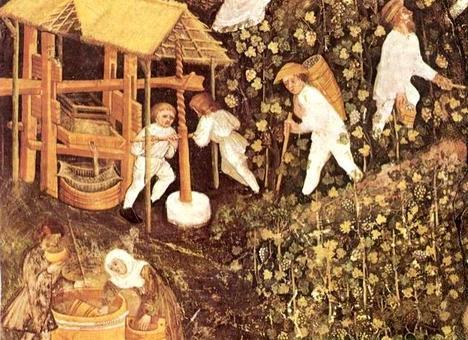 Dall'uva al vino (affresco del XV sec): la fermentazione del mosto comporta una trasformazione chimica