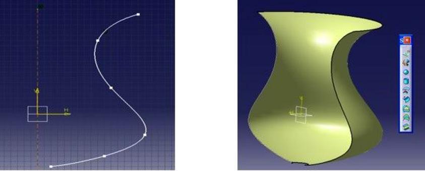 CATIA: Profilo (spline) con asse e superficie di rivoluzione.