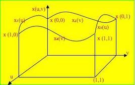 Quattro curve limiti di una superficie di Coons, relative alla componente x(u,v).