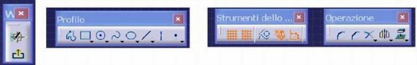 a) Uscire dallo Sketcher; b) Profilo;  c) Strumenti; d) Operazioni Si osserva che quando un'icona presenta, sulla destra in giù, un triangolino, significa che vi sono altre icone opzioni. Il colore arancione di un'icona, significa che stiamo eseguendo il suo comando, per uscire dal comando si selezione l'icona o si digita il tasto Esc.