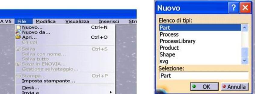 Oppure, da File-Nuovo- Part , dopo aver selezionato il tipo di file si apre una finestra in cui si assegna il nome alla parte