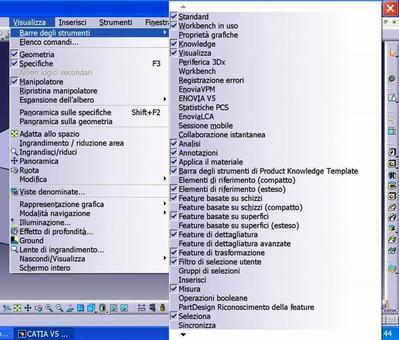 Fig. 9.30: Per vedere o eliminare le icone occorre utilizzare il menù Visualizza-Barra degli Strumenti