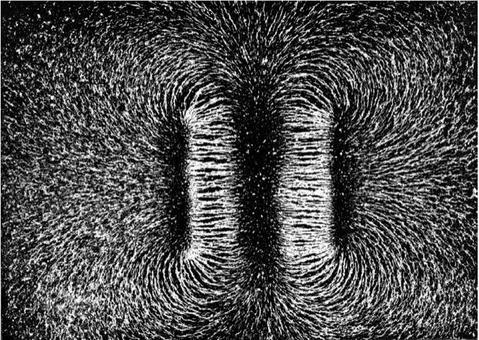 Foto di linee di campo: 2 Magneti a barretta, poli eteronimi affacciati