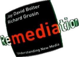 """Il logo sulla copertina del libro di Bolter e Grusin """"Remediation""""."""