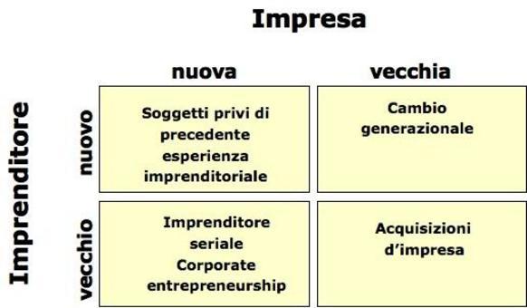 In base al grado di novità dell'impresa o dell'imprenditore è possibile distinguere diverse situazioni (Giunta, 1993) .
