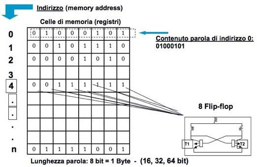 La memoria centrale è un insieme di celle, costituite da un numero fisso di bit  (minimo 8 Bit)  individuabile tramite il suo indirizzo.