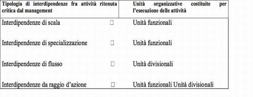 La scelta tra Unità Funzionali/Unità Divisionali dipende dalle interdipendenze più rilevanti.