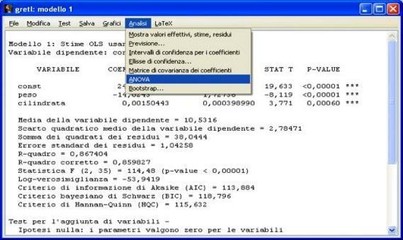 Per visualizzare il test F-totale dell'ANOVA del modello su Gretl si seleziona ANOVA dal menù Analisi.