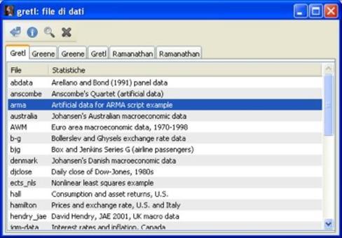 Aprire il set di dati ARMA nel database interno di Gretl, nella scheda nominata Gretl.