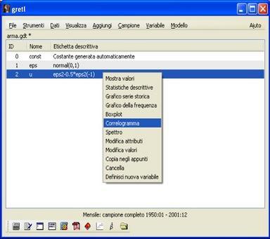 Selezionare la variabile u, agire sul pulsante destro del mouse e cliccare su correlogramma.