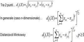Distanza euclidea e distanza di Minkowski.
