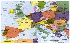 Carta geografica dell'Europa.