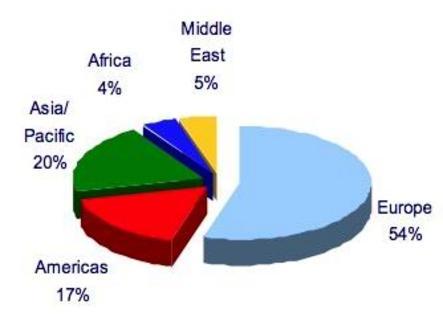 Fonte: Organizzazione Mondiale del Turismo (OMT). Anno di riferimento: 2004.