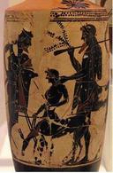 Peleo affida il giovane Achille al centauro Chirone, vaso a sfondo bianco e figure nere del pittore di Edimburgo, ca 500 a.C., da Eretria, Atene, Museo Archeologico Nazionale. Fonte