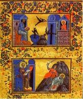 S. Cipriano al lavoro (in alto) e S. Gregorio mentre scrive il panegirico di S. Cipriano (in basso). (Ms. gr. 548, fol. 87v. Biblioteca Nazionale di Parigi). Fonte: Tradizione Cristiana