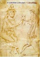 Macrobio presenta la sua opera al figlio Eustathius. Copia italiana del Commentarii in Somnium Scipionis ca. 1100 – British Library. Fonte Summagallicana