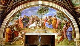 Omero al centro alla sua destra Dante – Virgilio alla sua sinistra particolare del Parnaso di Raffaello – circa 1509/1510 Stanza della Segnatura – Città del Vaticano. Fonte: Summagallicana