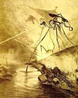 Tripode alieno in un'illustrazione dell'edizione francese del 1906 de La guerra dei mondi. Fonte: Wikipedia.