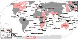 Impero coloniale inglese (mappa anacronistica, nel corso di tutta l'era coloniale). Fonte: Wikipedia